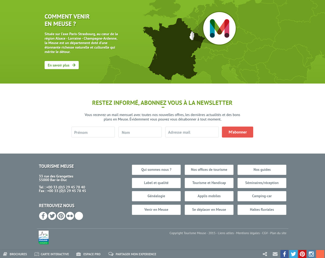 Site web Meuse Tourisme, accueil, carte situation, newsletter et footer
