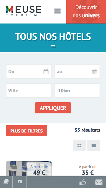 Site web Meuse Tourisme, Liste d'hébergements version mobile